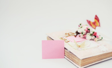 A diary for entries on a white table