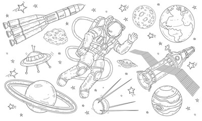 Vector illustration astronaut flying in space among the planets, satellites and missiles.