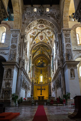 Beautiful decorations in the Cathedral of Cefalù with the mosaic of Christ Pantokrator, UNESCO World Heritage Site, Sicily, Italy