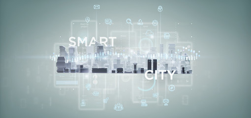 Smart city user interface with icon, stats and data 3d rendering