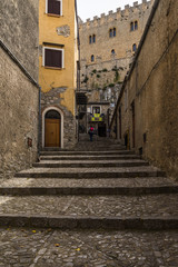 Stairway to the entrance of Caccamo medieval castle, Sicily, Palermo province, Italy