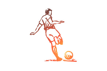 Football player, soccer, goal, kick concept. Hand drawn isolated vector.