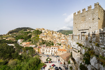 Caccamo panorama from the medieval castle, Sicily, Palermo province, Italy