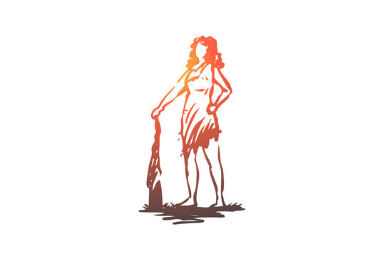 Primitive, woman, ancient, baton concept. Hand drawn isolated vector.