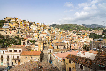 Aerial view of Caccamo, a typical Sicilian town near Palermo, Sicily, Italy