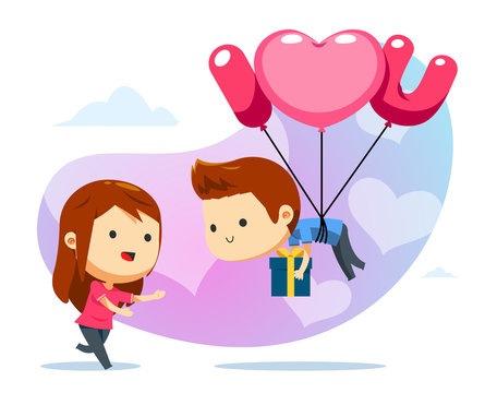 A floating boy with balloon and a girl ready to catch
