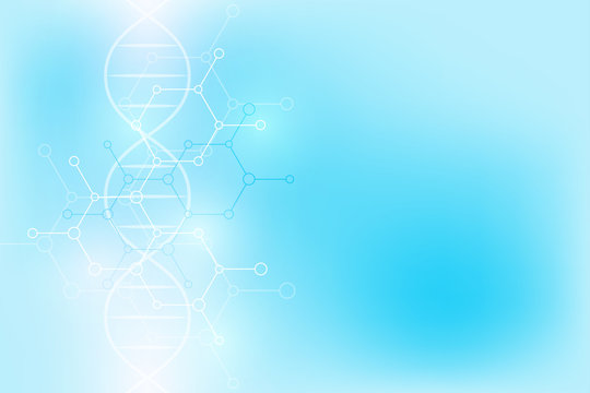 DNA strand and molecular structure. Genetic engineering or laboratory research. Background texture for medical or scientific and technological design.