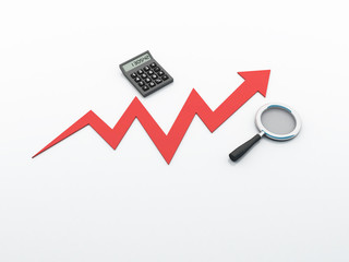 3d rendering Stock market online business concept. business Graph with calculator