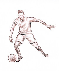 Sportsman in football - drawn pastel pencil graphic artistic illustration on paper
