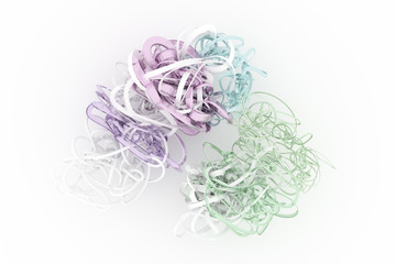 Colorful 3D rendering. Abstract CGI composition, bunch of messy string geometric. Wallpaper for graphic design.
