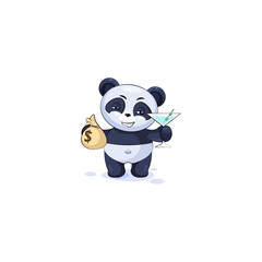 panda with bag of money and glass martini