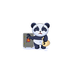 panda sticker emoticon open safe to hide money