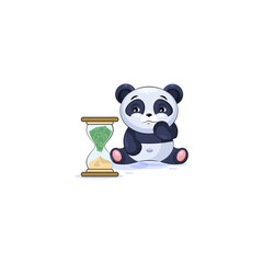 panda sticker emoticon sits at hourglass