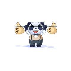 panda in business suit raises barbell bags money