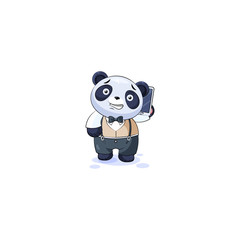 panda in business suit with smart phone