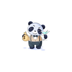 panda in business suit with bag of money