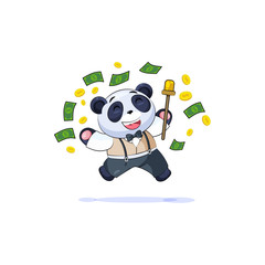 in business suit panda jump joy money
