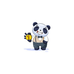 panda in business suit cryptocurrency coin