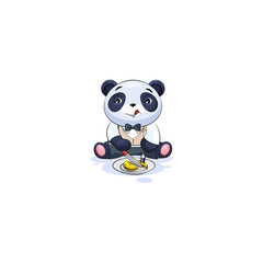 panda in business suit shares coin money