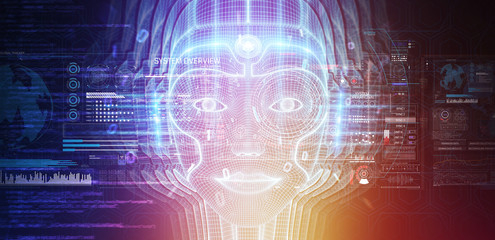 Robotic woman cyborg face representing artificial intelligence 3D rendering