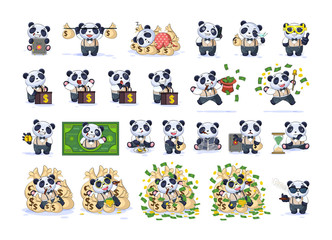 Set kit collection panda in business suit
