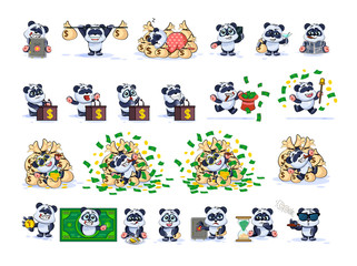 Set kit collection panda bear sticker emoticon