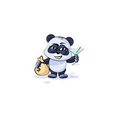 panda bear with bag of money and glass martini