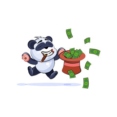 panda bear jumping for joy with hat money