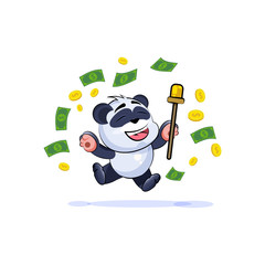 panda bear sticker emoticon jump for joy money