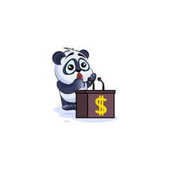panda bear sticker emoticon behind podium