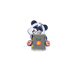 panda bear sticker emoticon hug safe with money