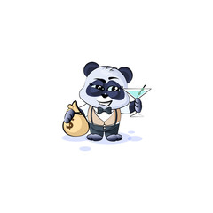 panda bear in business suit with bag of money