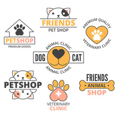 pet shop outline cartoon in circle with copy space, pet care