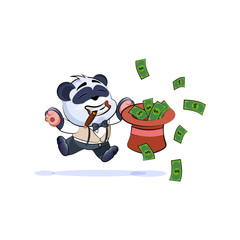 panda bear in business jumping with hat of money