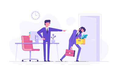 Angry oss dismisses employee. Fired sad man carrying box with his things. Dismissal, unemployment, jobless and employee job reduction concept. Flat vector illustration.