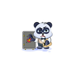 panda bear in business suit open safe, hide money