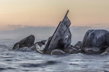 Shipwreck Coast. Great Lakes shipwreck on a remote rocky coast on Lake Huron in Michigan.