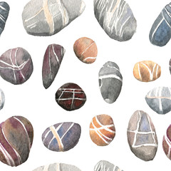 Seamless pattern of watercolor sea stones, isolated on white background.