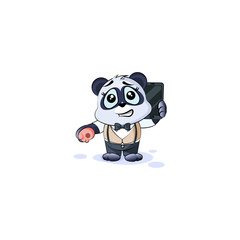 panda bear in business suit with smart phone