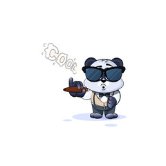 panda bear in business suit smoking cigar