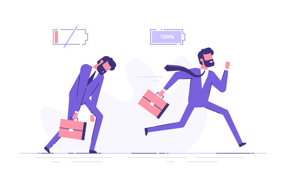 Cheerful businessman running with full of energy battery icon and tired businessman slowly walking with low energy battery icon. Business concept. Flat vector illustration.