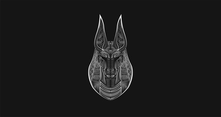 Gods of Ancient Egypt. Anubis Jackal-Headed god of funerals and death. Black and white digital lineart. Ancient logotype. Abstract hieroglyph. Egyptian poster.