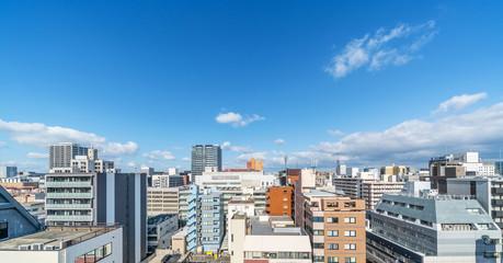 city skyline view in tenjin, Fukuoka Japan