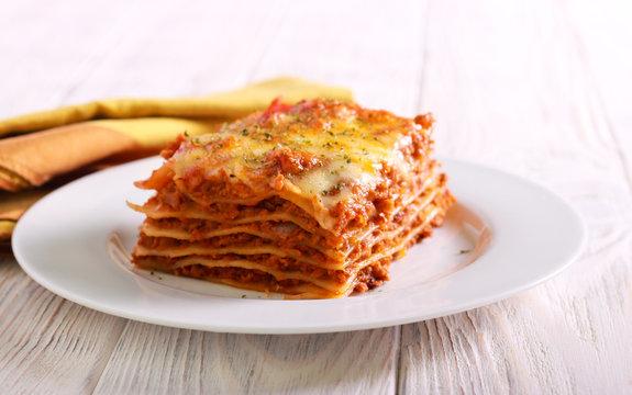 Slice of lasagna  on plate