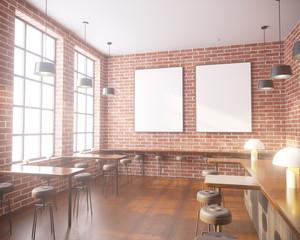 Mockup Poster in art deco style interior. 3d render. cafe. illustration
