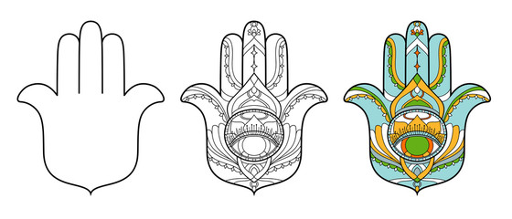 Hamsa icon set. Vector illustration is isolated on a white background. Esoteric protective amulet hand of Fatima. Decorative element with east motives for design