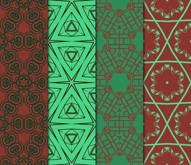 Set of Ornament With Geometric Colorful Pattern. For Print On Fabric, Papper, Design. Vector Illustration. Seamless