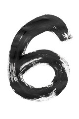 """The number """"6"""" is written in black on an isolated white background."""