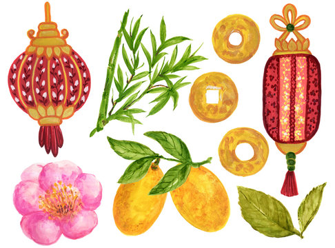 Watercolor Gouache Asian style and Chinese Japanese  new year elements hand paint