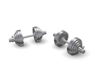 Beautiful realistic perspective view fitness vector of two steel loadable dumbbells on white background.